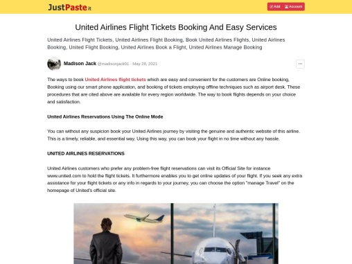 United Airlines Flight Tickets Booking And Easy Services