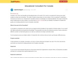 Educational Consultant For Canada