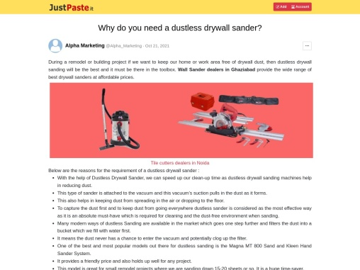 Why do you need a dustless drywall sander?