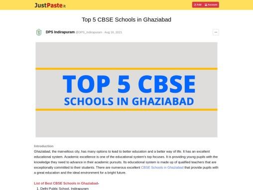 Top 5 CBSE Schools in Ghaziabad   Dps Indirapuram