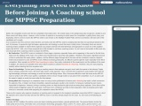 Everything You Need to Know Before Joining A Coaching school for MPPSC Preparation
