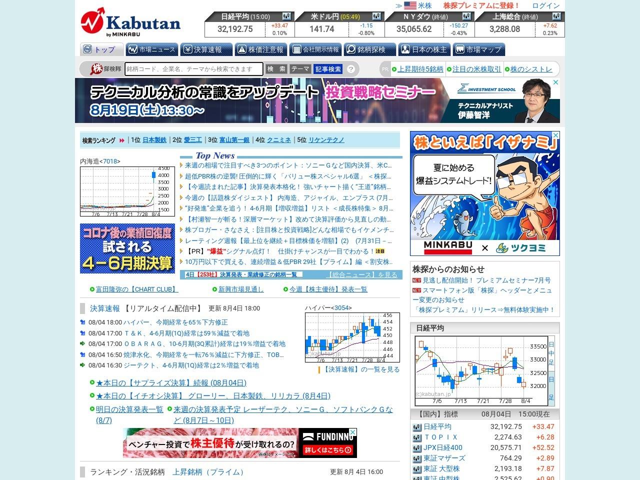 【材料】前場のランキング【寄付からの値上がり率】 (8月6日)