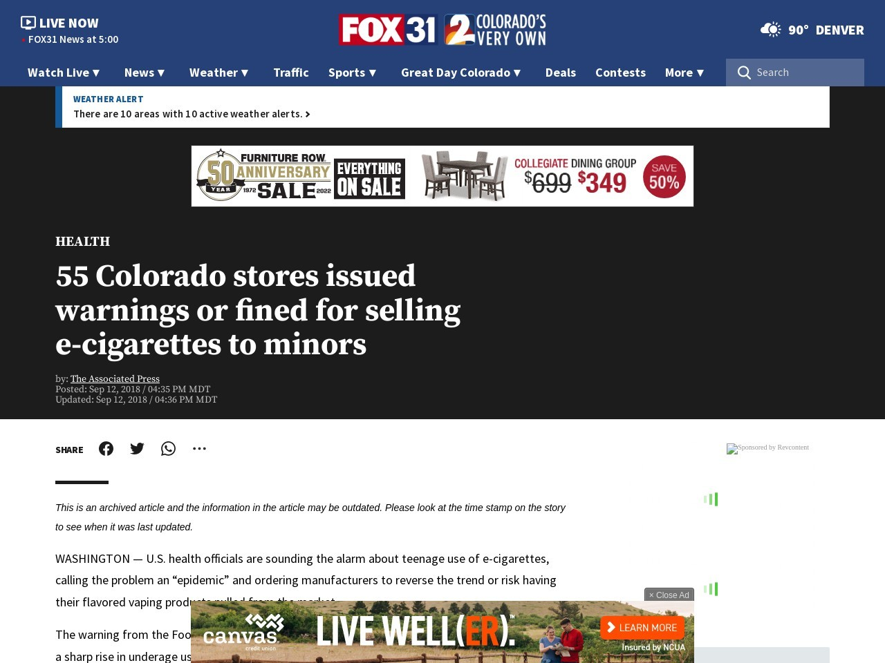 55 Colorado stores issued warnings or fined for selling e-cigarettes to minors
