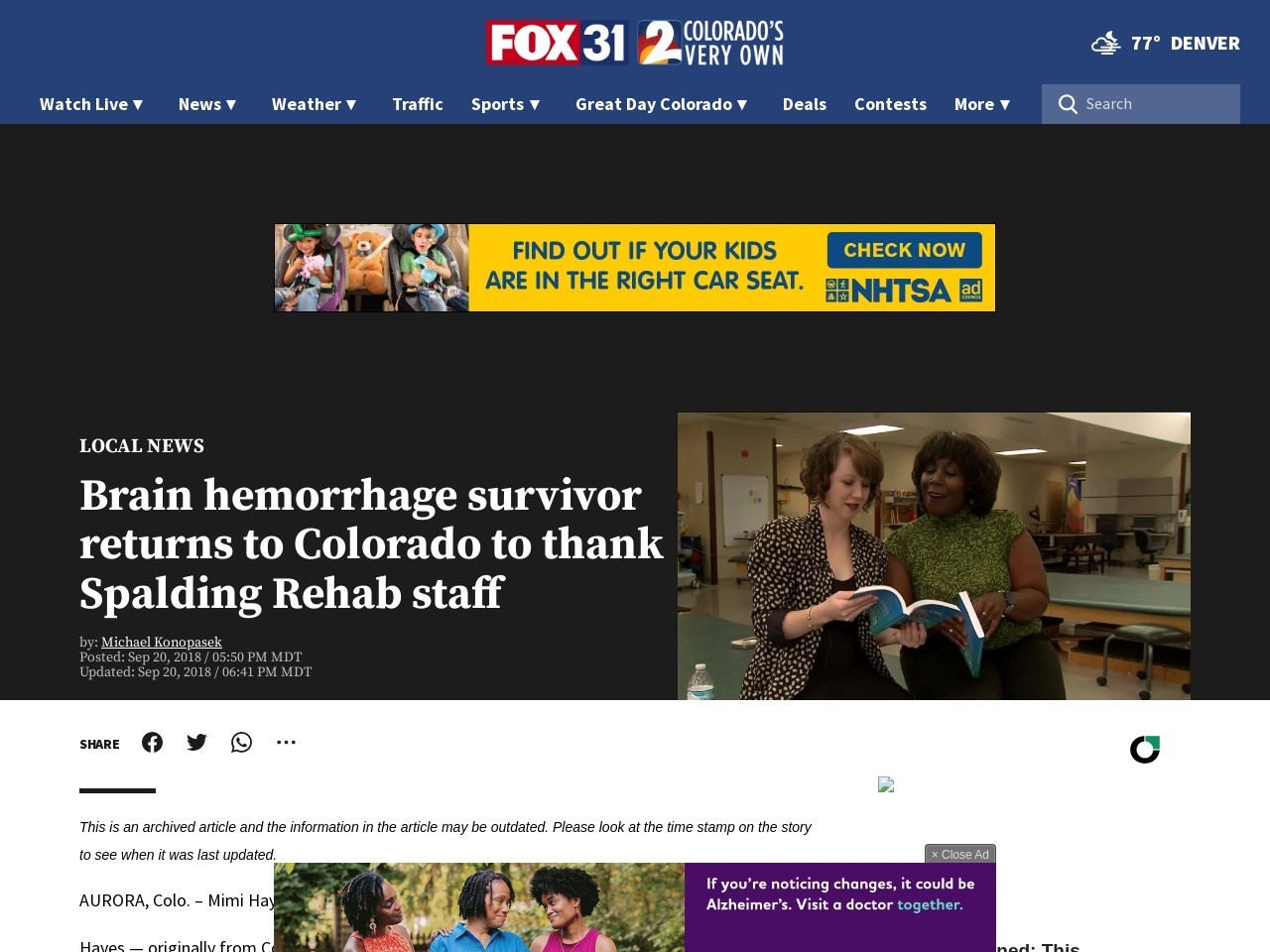 Brain hemorrhage survivor returns to Colorado to thank Spalding Rehab staff