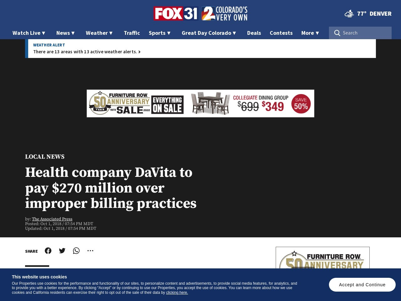 Health company DaVita to pay $270 million over improper billing practices