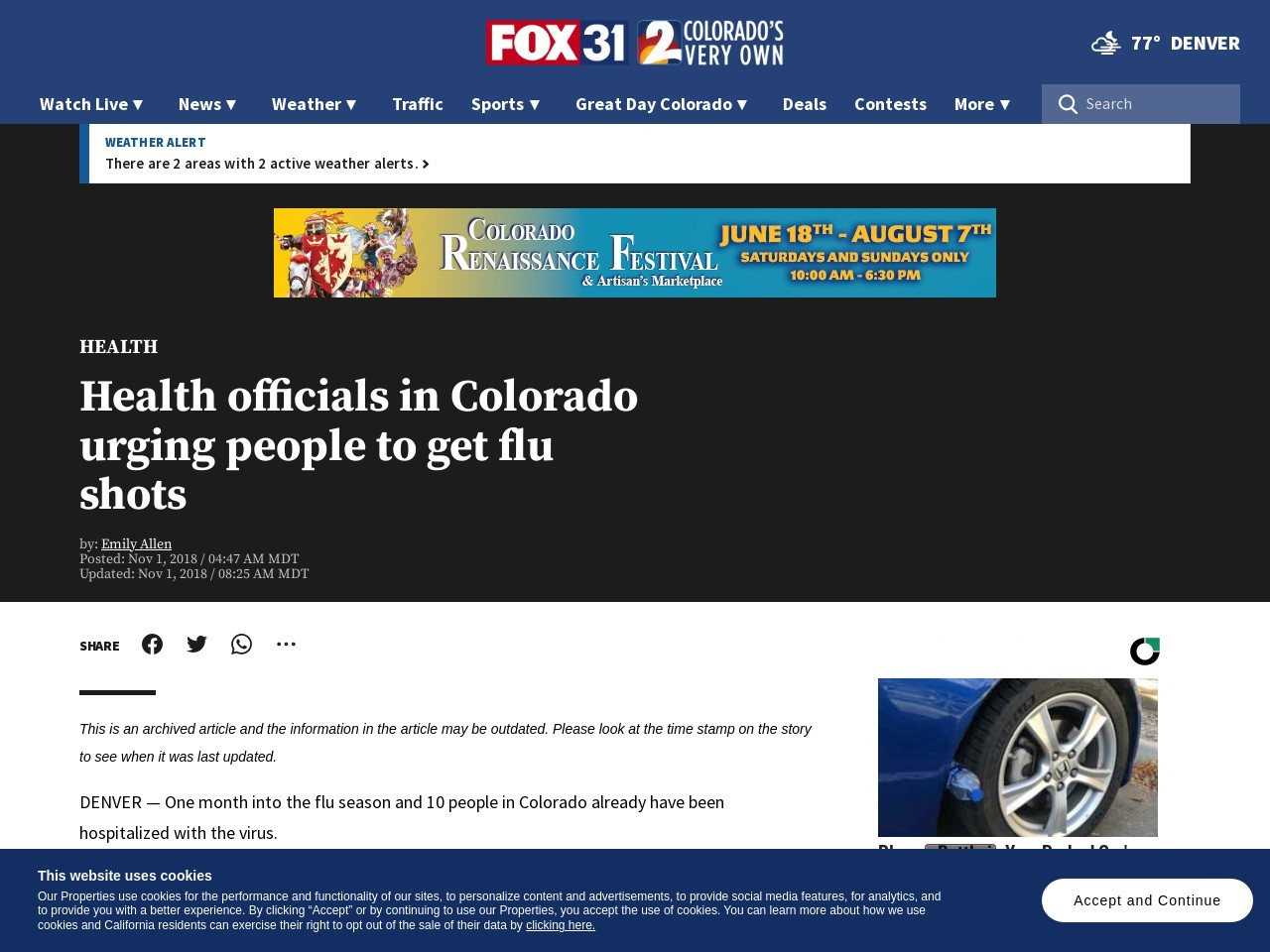 Health officials in Colorado urging people to get flu shots