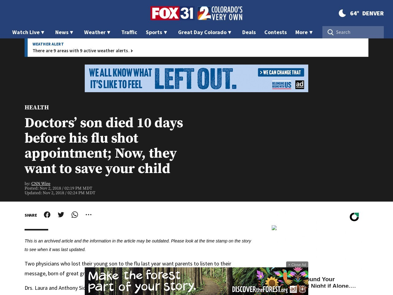 Doctors' son died 10 days before his flu shot appointment; Now, they want to save your child