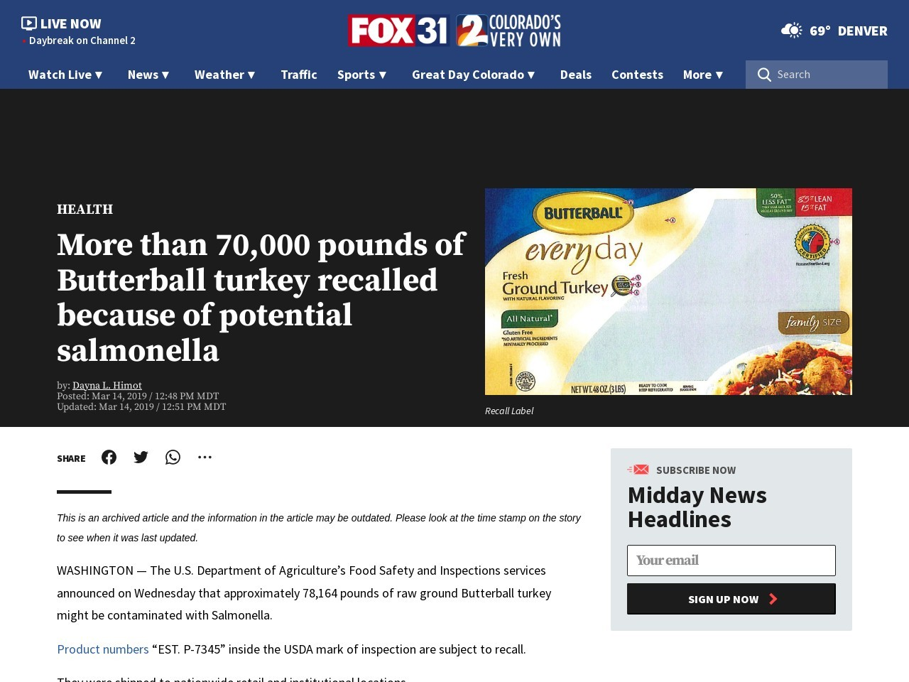 More than 70,000 pounds of Butterball turkey recalled because of potential salmonella