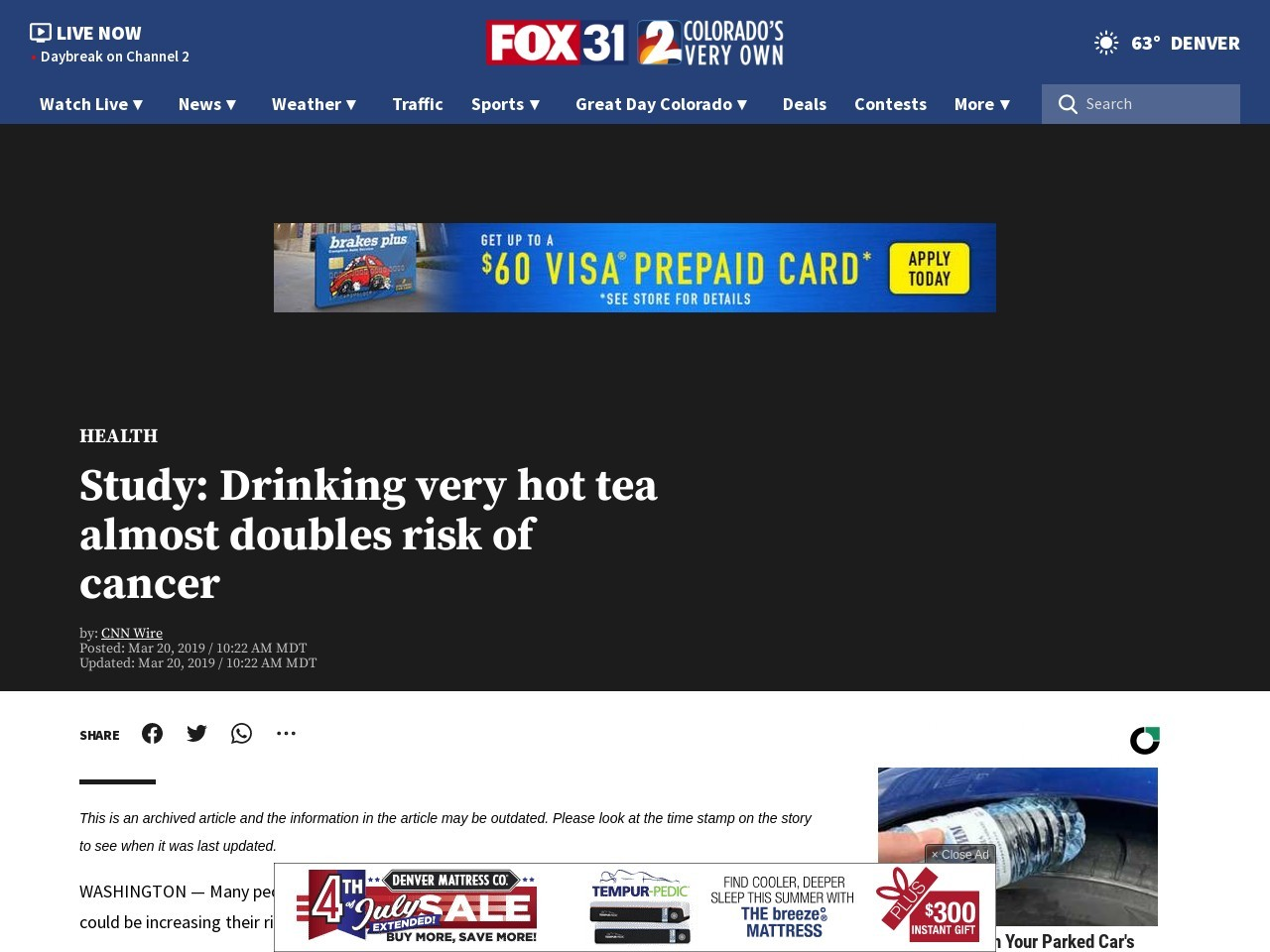 Study: Drinking very hot tea almost doubles risk of cancer