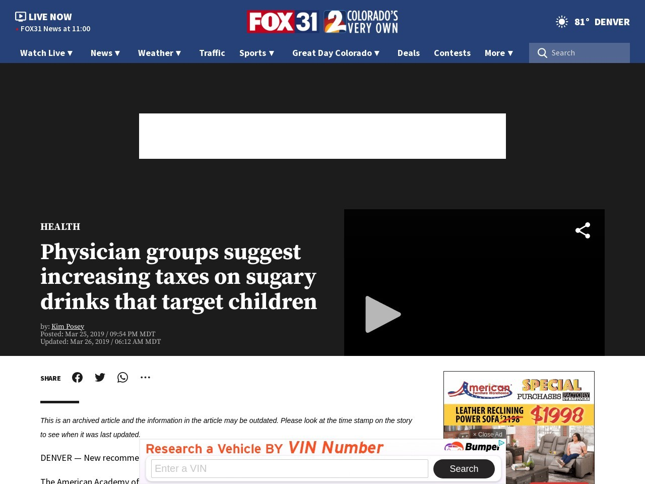 Physician groups suggest increasing taxes on sugary drinks that target children