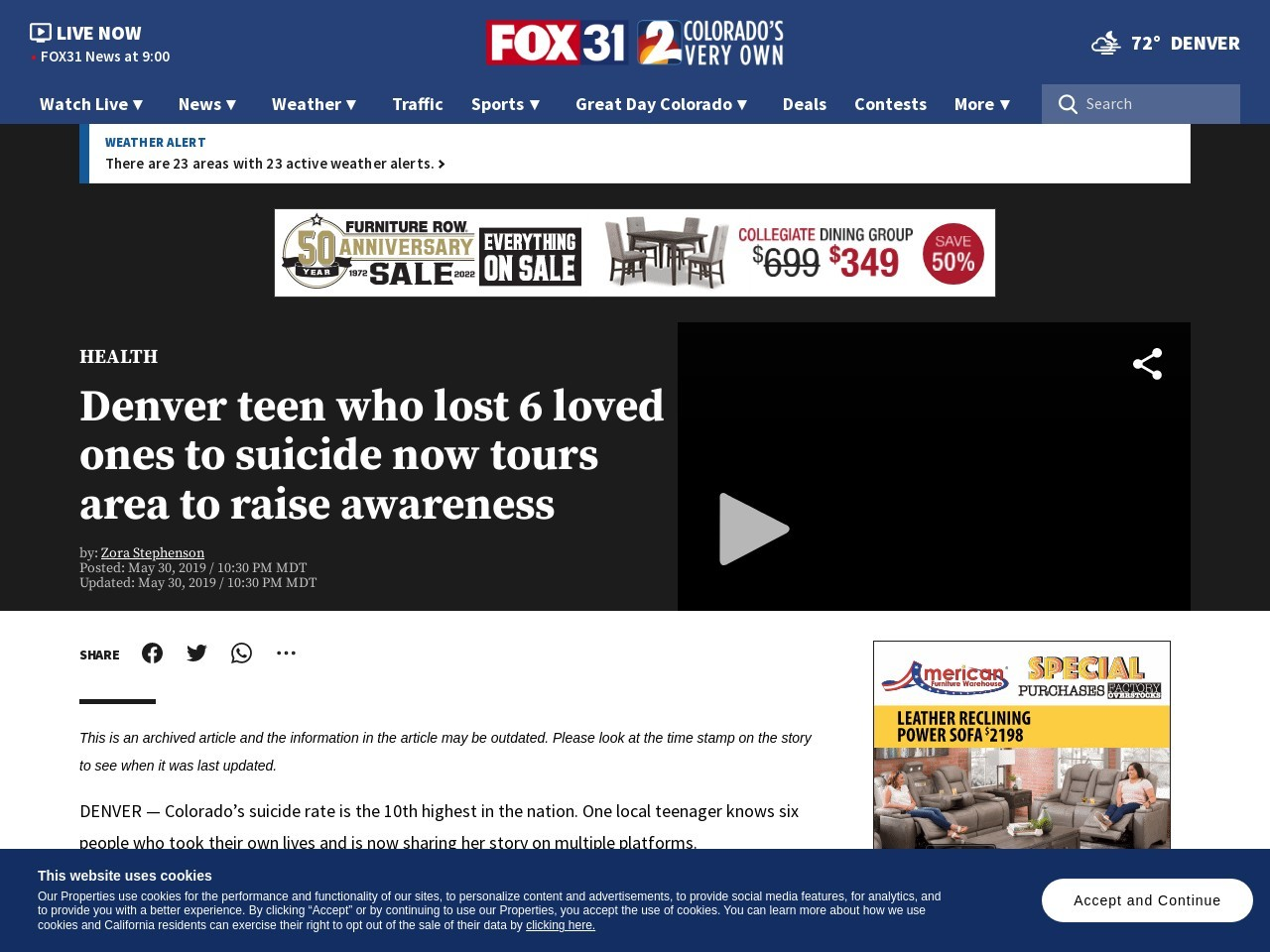Denver teen who lost 6 loved ones to suicide now tours area to raise awareness