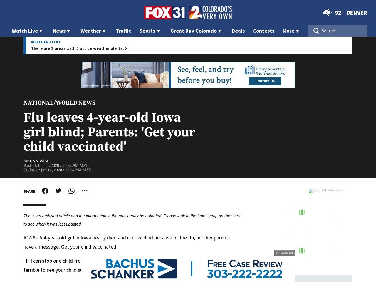 Flu leaves 4-year-old Iowa girl blind; Parents: 'Get your child vaccinated'