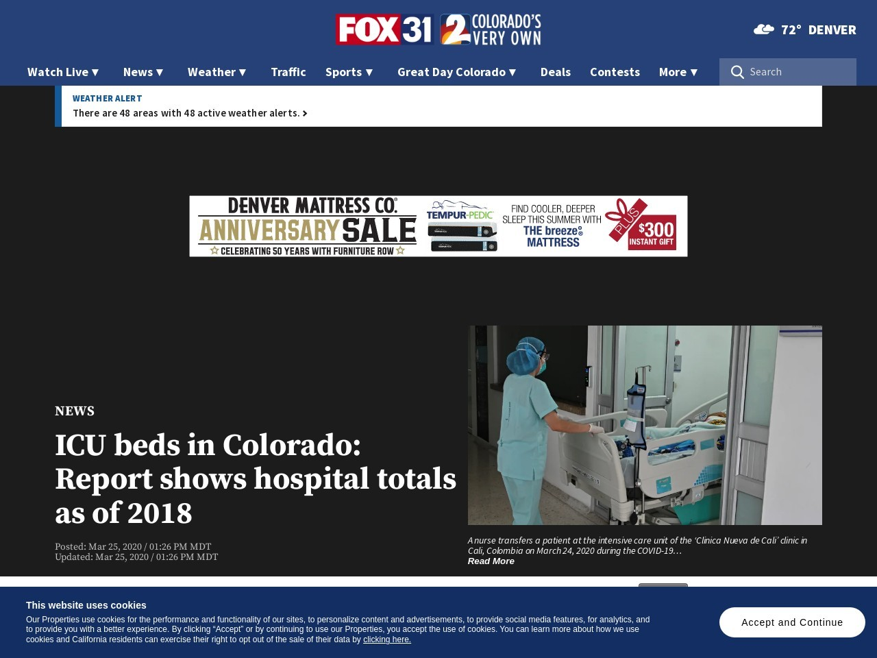 ICU beds in Colorado: Report shows hospital totals as of 2018