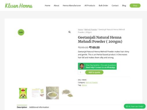 Geetanjali Natural Henna Mehndi Powder