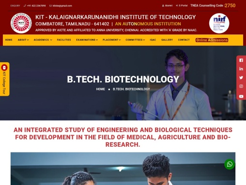 biotechnology engineering colleges in coimbatore