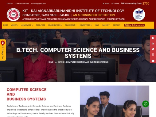 Best Computer Science and Business Systems Colleges in Coimbatore – KIT