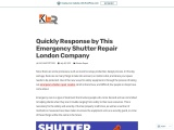 Quickly Response by This Emergency Shutter Repair London Company