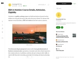BBA in Aviation | Course | Admission