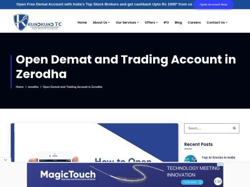 Open Demat and Trading Account in Zerodha
