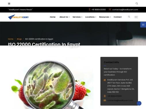 ISO 22000 certification in Egypt | ISO 22000 consultants in Egypt | Kwalitycert