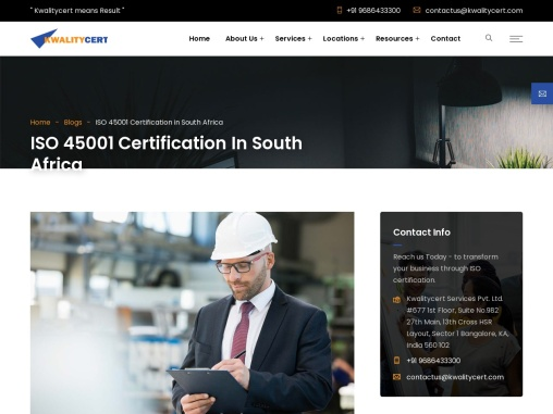 ISO 45001 certification in East London   ISO 45001 consultants in East London   Kwalitycert