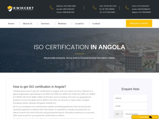 ISO Certification in Angola | Best ISO Consulting Services in Angola