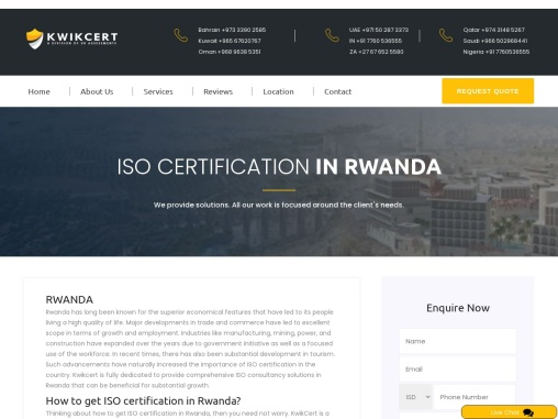 ISO, CE Mark, VAPT & HACCP Certification Company in Rwanda | Kwikcert