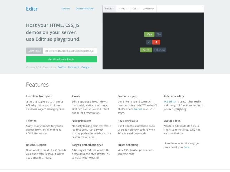 Editr.js | CodePenのようにサイトにソースコードのスニペットを掲載できるJavaScriptライブラリ