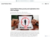 Latest Pakistan News poverty and exploitation drive child marriages