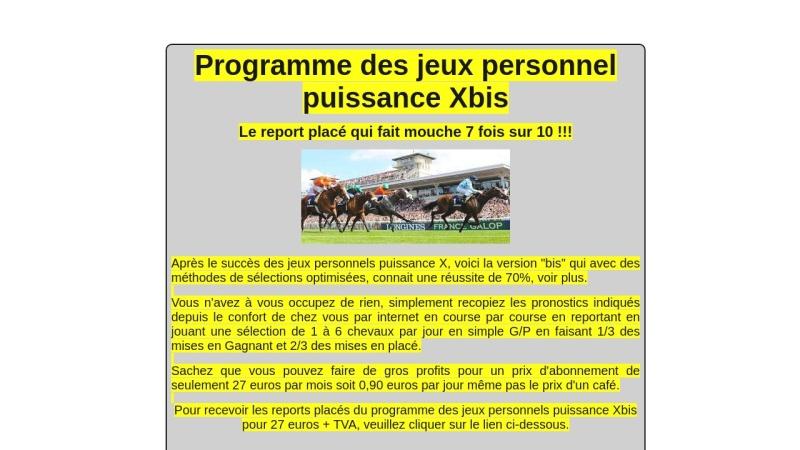 le programme des jeux personnels puissance xbis