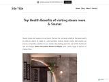 Top Health Benefits of visiting steam room & Saunas