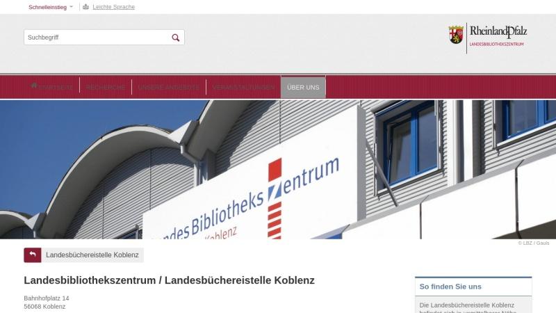 lbz.rlp.de Vorschau, Landesbibliothekszentrum / Landesbüchereistelle Rheinland-Pfalz, Koblenz