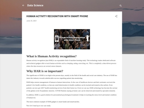 HUMAN ACTIVITY RECOGNITION WITH SMART PHONE