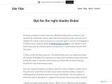 shades Dubai | Call Now @ 971 44534564