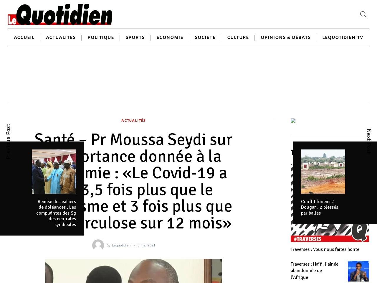 Santé - Pr Moussa Seydi sur l'importance donnée à la pandémie : «Le Covid-19 a tué 3,5 fois plus que le paludisme et 3 fois plus que la tuberculose sur 12 mois» - Lequotidien - Journal d'information Générale
