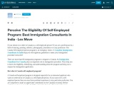 Perceive The Eligibility Of Self-Employed Program: Canadian Immigration Consultants In India- Lex Mo