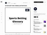 SPORTS BETTING TERMS & DEFINITIONS