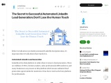 The Secret to Successful Automated LinkedIn Lead Generation: Don't Lose the Human Touch