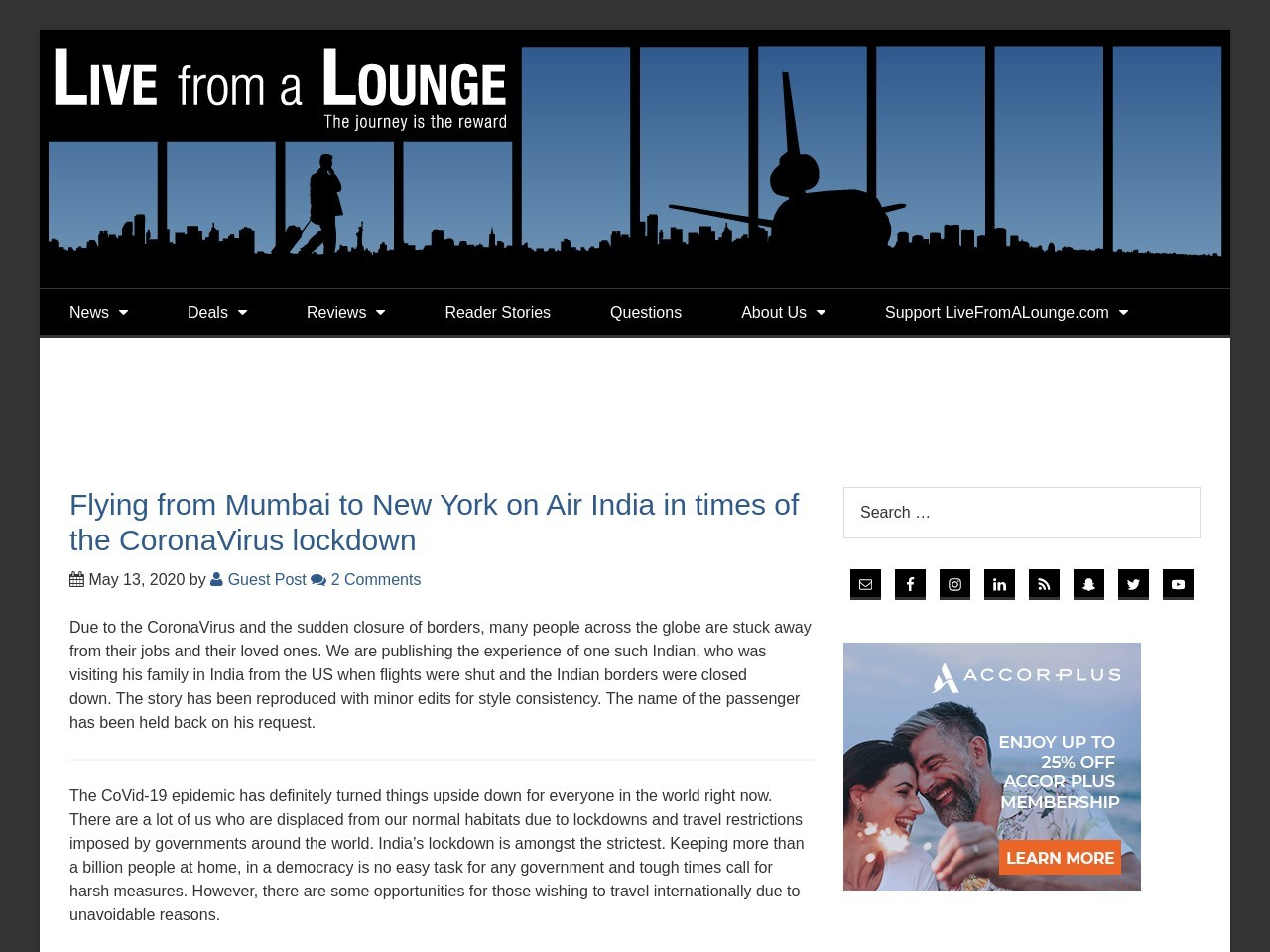 Flying from Mumbai to New York on Air India in times of the CoronaVirus lockdown