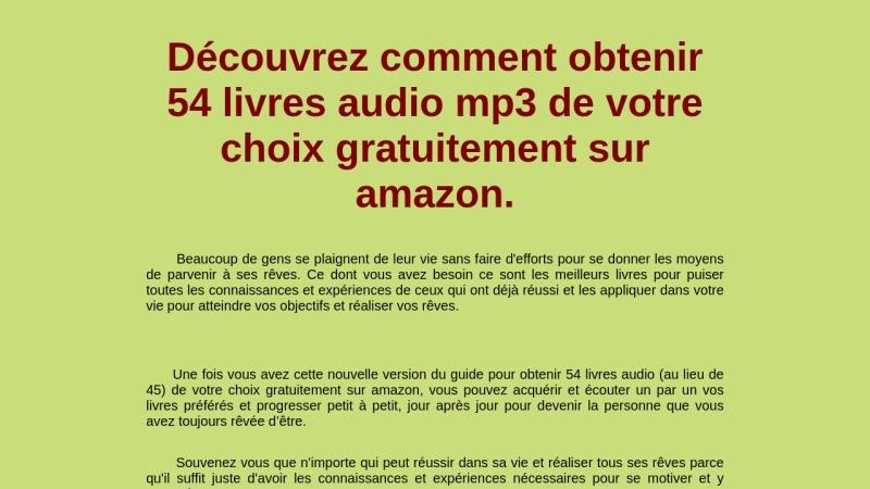 obtenir 54 livres audio gratuitement sur amazon.