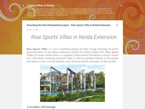 Rise Sports Villas – Your Dream House In Noida Extension