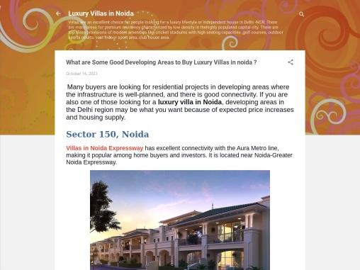 Some Best Developing Areas to Buy Luxury Villas in Noida