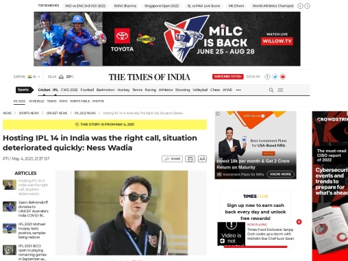 Hosting IPL 14 in India was the right call, situation deteriorated quickly: Ness Wadia