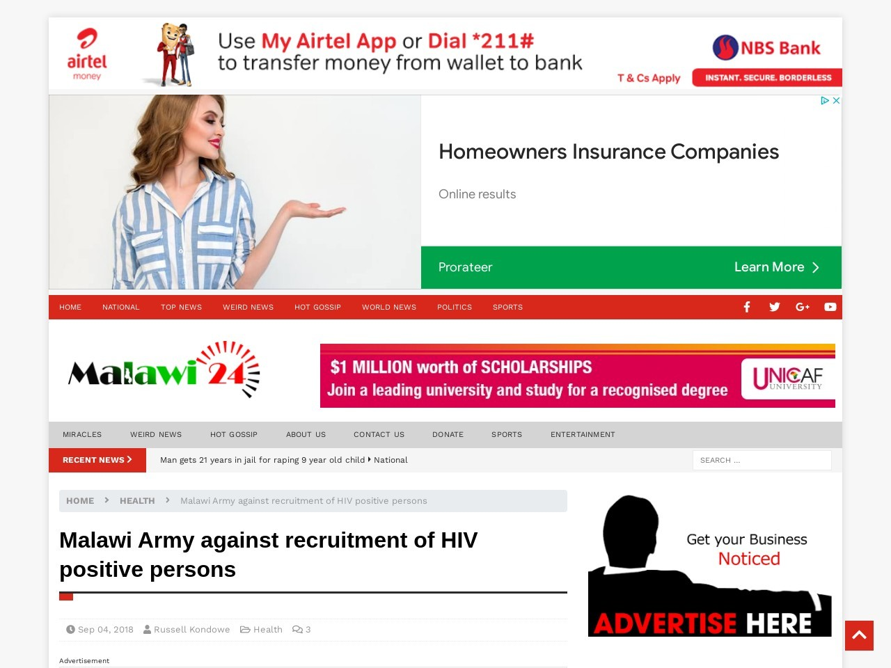 Malawi Army against recruitment of HIV positive persons