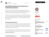 Highly Preffered way to Copy MYSQL Database from One Server to Another Remote Server
