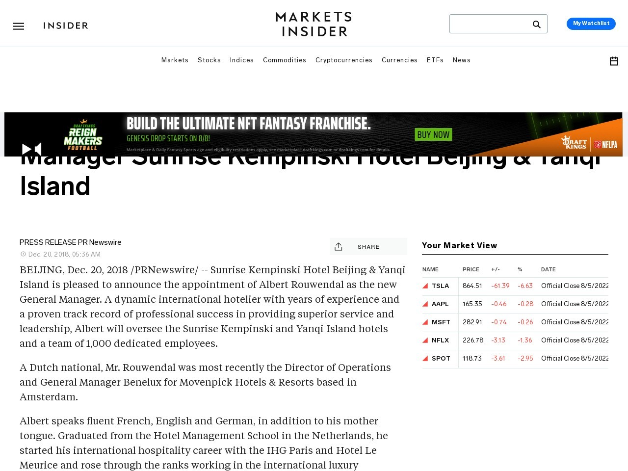 Mr. Albert Rouwendal Appointed as General Manager Sunrise Kempinski…