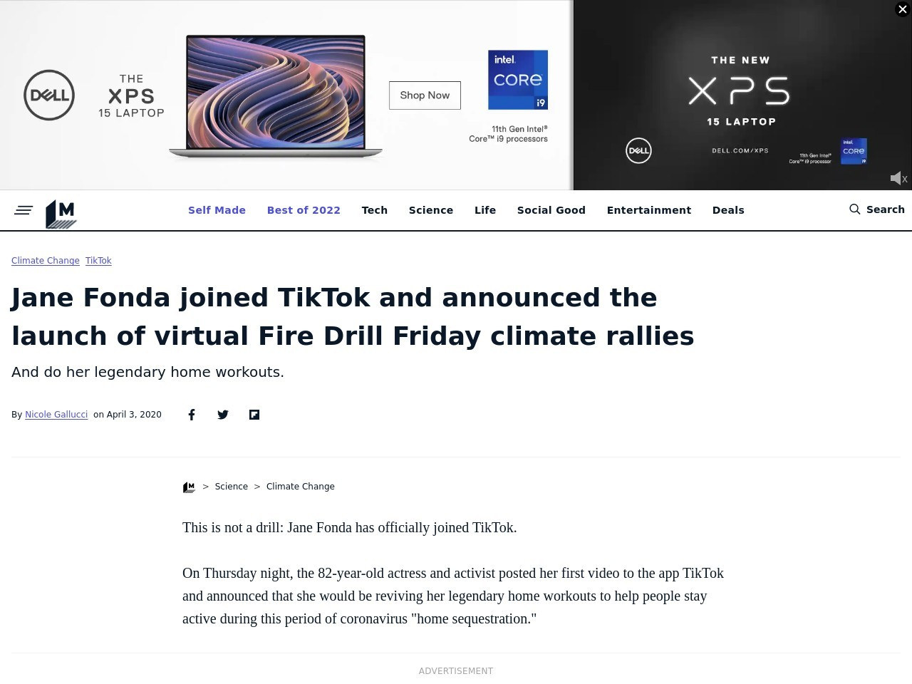 Jane Fonda joined TikTok and announced the launch of virtual Fire Drill Friday climate rallies