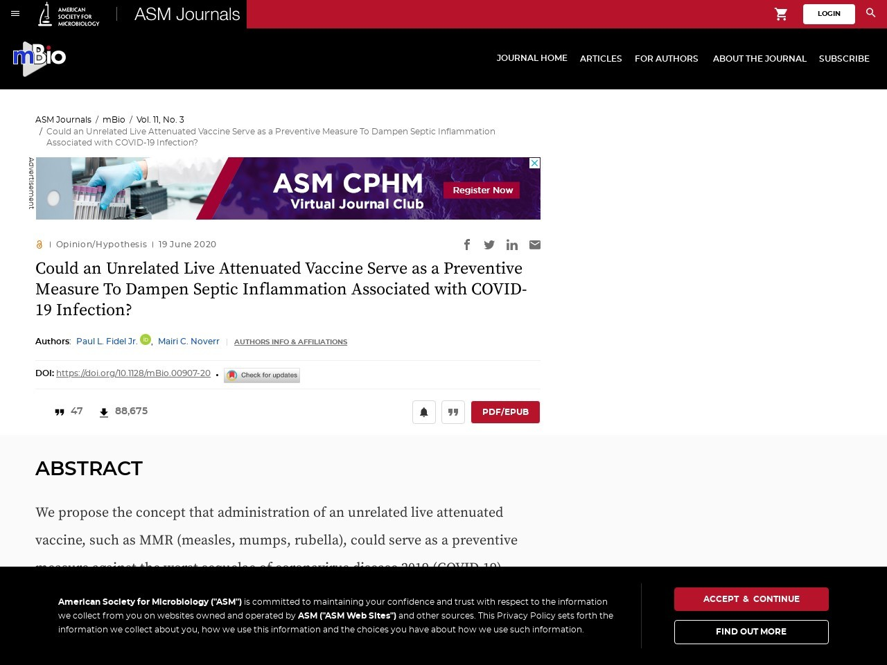 Could an Unrelated Live Attenuated Vaccine Serve as a Preventive Measure To Dampen Septic Inflammation Associated with COVID-19 Infection?