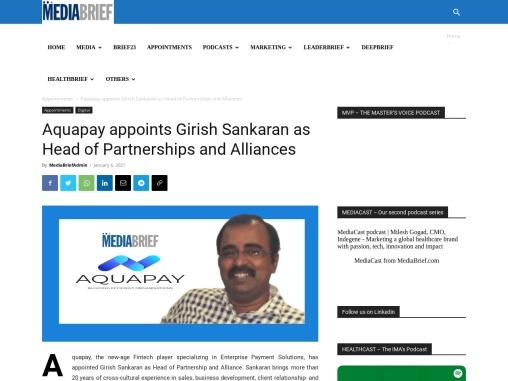 Aquapay appoints Girish Sankaran as Head of Partnerships and Alliances