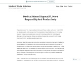 Medical Waste Disposal Fl More Responsibly And Productively